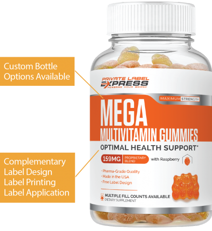 Mega Multivitamin Gummy bottle with pullout